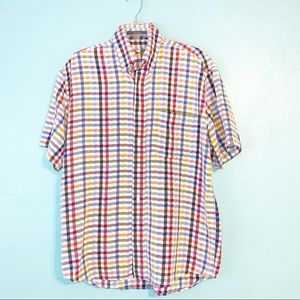 Alan Flusser Checkered Button Down Shirt Medium
